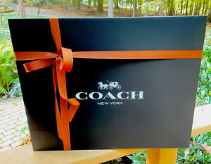 "COACH SIGNATURE BLACK RETAIL GIFTBOX W RIBBON  X Large 20"" X 16"" X 6"" Brand New"