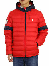 Polo Ralph Lauren Hooded Packable Down Jacket w/ USA Flag Patch - Red w/ Navy