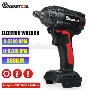 Cordless Electric Impact Wrench Nut Gun 800Nm 1/2'' Driver For 18V Makita Batter