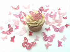 48 Edible Shades of Pink Butterflies Pre Cut Wafer Cupcake Toppers