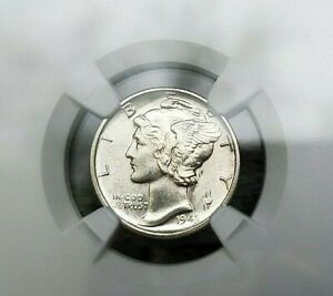 Dime NGC Mercury 1943 Fb MS 64 Silver Coin 10c Mint Full Bands Beautiful