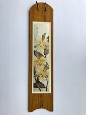 Chokin Art Picture Floral Wood Plaque Metal Engraved Design