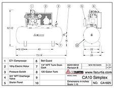 FS Curtis CA Series Simplex Horizontal Tank Mounted Air Compressor 10 hp