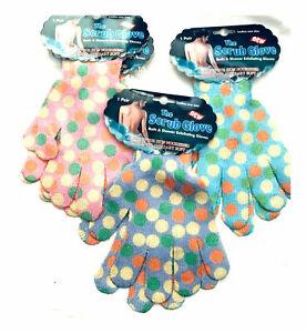 1 Pair Exfoliating Gloves Body Scrub Shower Bath Mitt  Skin Massage Spa -