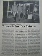 2/75 ARTICLE + 2 PAGES TEXAS AIRLINES UNIFORM STEWARDESS HOTESSE + WESTLAND 606