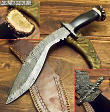LOUIS MARTIN RARE CUSTOM HANDMADE DAMASCUS ART HUNTING KUKRI KNIFE CROWN ANTLER