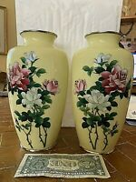 "MIRRORED PAIR Extraordinary 9.5"" Japanese Silver Wire Cloisonne Vases"