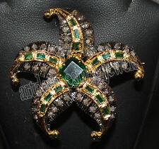 1.40ct ROSE CUT DIAMOND EMERALD ANTIQUE VICTORIAN LOOK 925 SILVER BROOCH PIN