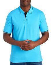 Robert Graham Mens Light Teal Blue Cotton Classic Fit Polo Shirt NWT $98 Size S