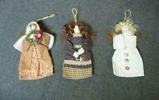 3 Vintage Country Angel Christmas Ornaments Metal Wings