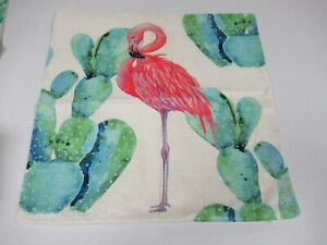 4 PACK FLAMINGO THROW PILLOW COVERS TROPICAL SUMMER VIBES NEW