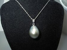 HUGE Lustrous 14.8mm  x  11mm Silver/Gray TAHITIAN  PEARL 14K White Gold Pendant