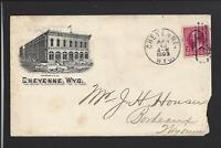 """CHEYENNE, WYOMING,1893,#220 ILLUST ADVT COVER, W/ENCL  """"UNION MERCANTILE GROCER"""""""