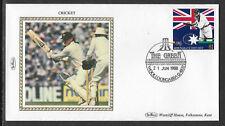 AUSTRALIA CRICKET ASHES 1988 $1 WG GRACE ALLAN BORDER PHOTO Benham Silk FDC