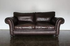 """Handsome George Smith """"Steven"""" Large 2.5-Seat Sofa in Dark Brown Leather"""