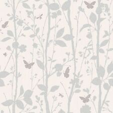 Dazzle árboles & Mariposas Brillo Papel Tapiz Blanco Plata característica pared Decoración Nuevo