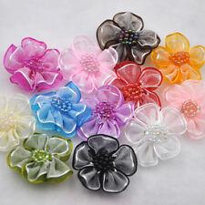 20 pcs Upick Organza Ribbon Flower Bows Appliques Craft Wedding Decoration B08