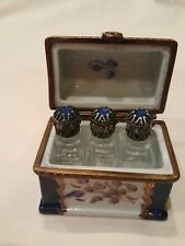 Vintage Limoges Box with 3 Removable Perfume Bottles Peint Main