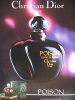 PUBLICITÉ DE PRESSE 1989 POISON ESPRIT DE PARFUM CHRISTIAN DIOR PARIS