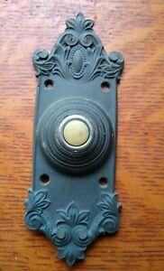 "Antique Fancy Victorian Bronze Doorbell Button ""Avallon"" Russell & Erwin c1909"