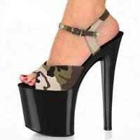 Womens Trendy Sexy Camouflage Peep Toe Pumps High Heels Platform Party Shoes US