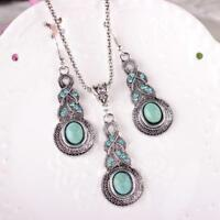 2X Tibet Silber Türkis Kette Kristall Anhänger Halskette + Ohrring Schmuck R8L4