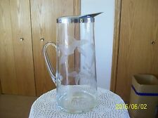 Carafe Large Etched Pitcher With Stainless Steel Applied Handle
