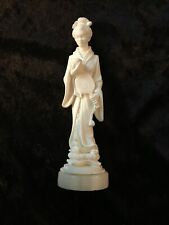 A. Giannelli Alabaster on Marble Sculpture Asian Woman With Hand Mirror