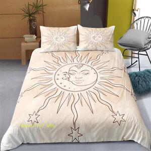 Linen Single/Queen/King/Double Bed Quilt Doona Duvet Cover Set Sun Moon Star