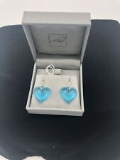 LALIQUE COEUR HEART BLUE TONE CRYSTAL DROP DANGLE GOLD PLATED HOOK EARRINGS