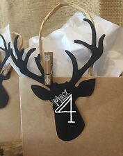 12 Chalkboard Deer Head Hunting Birthday party Baby Shower favor tags labels