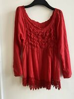 RED BARDOT TOP LACE 14 SUMMER HOLIDAY IBIZA MARBS GLAM CUTE PRETTY COTTON CHIC