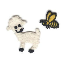 """Lot 2 Embroidered Sew-On Appliques 1.75"""" Lamb & 1"""" Bee"""
