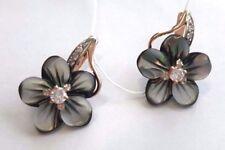 Rose Gold Ohrringe mit Perlmutt schwarz BLUME 585 Russische Schöne Ohrringe!!