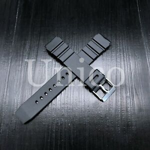 18 20 22 MM Black Silicone Rubber Watch Band Strap Fits Seiko Diver Water Black