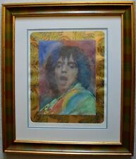 GUILLAUME AZOULAY ROCK ON MIXED MEDIA ORIGINAL MICK JAGGER SIGNED W/COA FRAMED