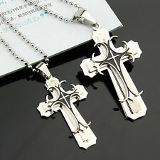 Men Women Couple Lover Necklace Cross Pendant Stainless Steel