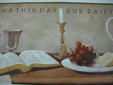 INSPIRATIONAL BREAD OF LIFE  GRAPES  CANDLE  BIBLE  SCRIPTURE  Wallpaper Border