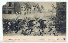 WWI Alpine Soldiers fighting in Estaires, France, 1914-15, old PC, war scene