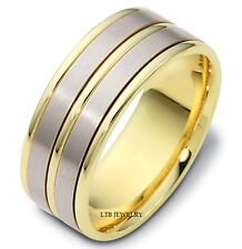 MENS 10K TWO TONE SOLID GOLD WEDDING BANDS,SATIN FINISH 8MM MENS WEDDING RINGS