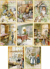 Vintage Beatrix Potter Ginger and Pickles cards tags set of 8 with envelopes