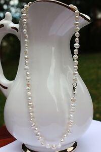 50 cm BR1 Echt Süßwasser Zucht Perle Schmuck Perlenkette Halskette Kette Collier