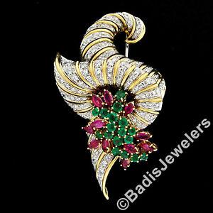 Vintage Large Handmade 18k Gold 7.50ctw Diamond Emerald Ruby Cluster Brooch Pin