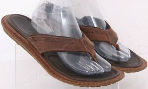 Teva 1003993 Brown Leather Thong Slip On Flat Flip Flop Shoes Men's US 11