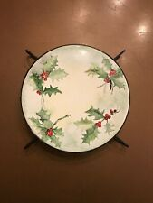 """Vintage Holiday Christmas Holly With Berres Hot Plate Trivet Stoneware 6"""""""
