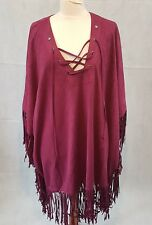 Boohoo Poncho Cape Tassels Festival Boho Hippie Lace-up front One Size