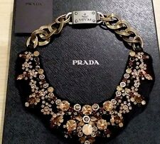 AUTHENTIC NEW PRADA GROSGRAIN & SWAROVSKI CRYSTAL NECKLACE RRP $1100