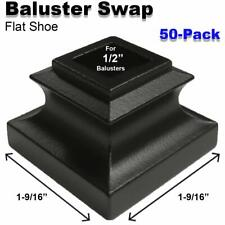 Baluster Swap Flat Shoes for Metal Balusters (50-Pack) NO Screw (Satin Black)