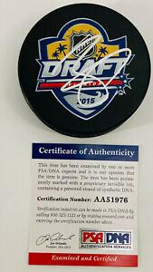 Connor McDavid Edmonton Oilers Signed 2015 NHL Draft Hockey Puck PSA COA