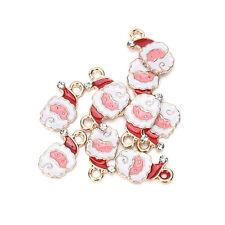 10 Pcs Xmas Christmas Mix Silver Plated Enamel Pendants Charms Pop 4q C